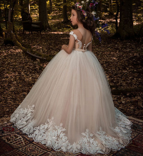 Rose.   Lace Floral Appliques Pageant Ball Gown Dress
