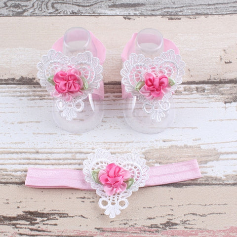 Flower Headband and Barefoot Sandals baby girl  3 pcs gift set