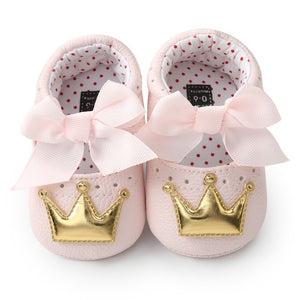 Baby Girl PU Leather Moccasins First Walkers Crown Crib Shoes