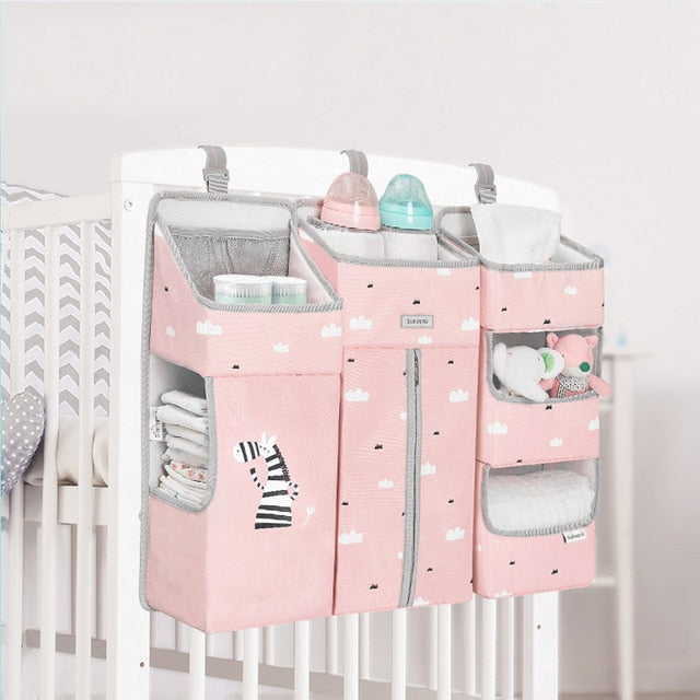 Portable Baby Crib Organizer Baby Essentials Diaper Storage Set
