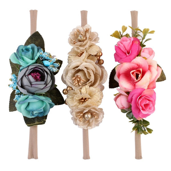 Baby Girls Artificial Flower Headband  with Elastic Nylon Newborn Photo props