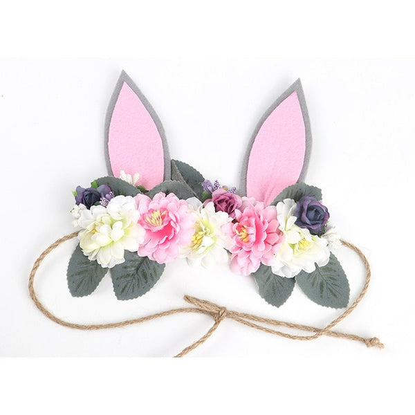 Baby Headband Bunny Flower Crown Hair Band Girls Easter 3D Rose Flower