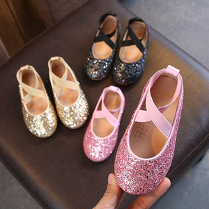 Girls Ballet Flats Baby Dance Birthday  Party Girls Shoes Glitter s 3-12 years