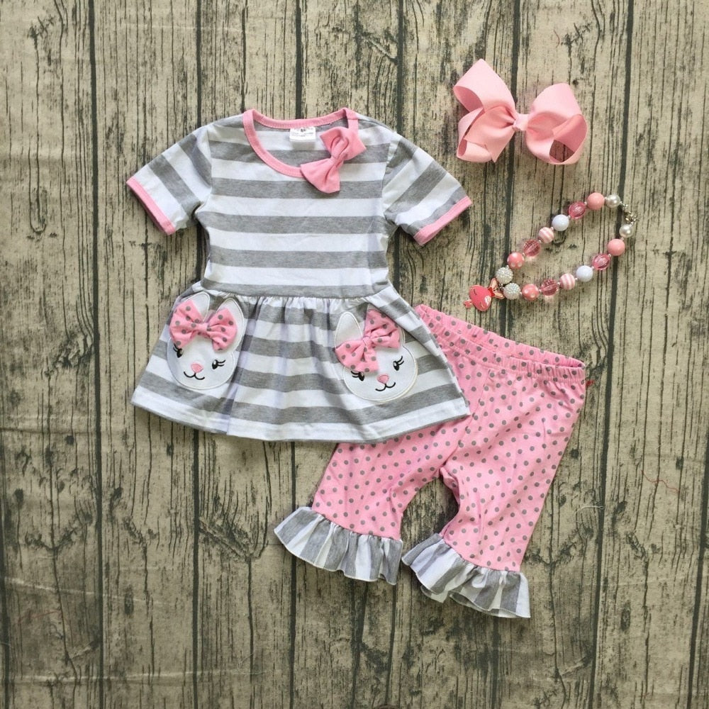 Girls boutique spring clothing girls Easter bunny outfits  with accessories