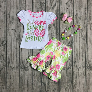Girls easter bunny outfits   with floral capri pants set with accessories
