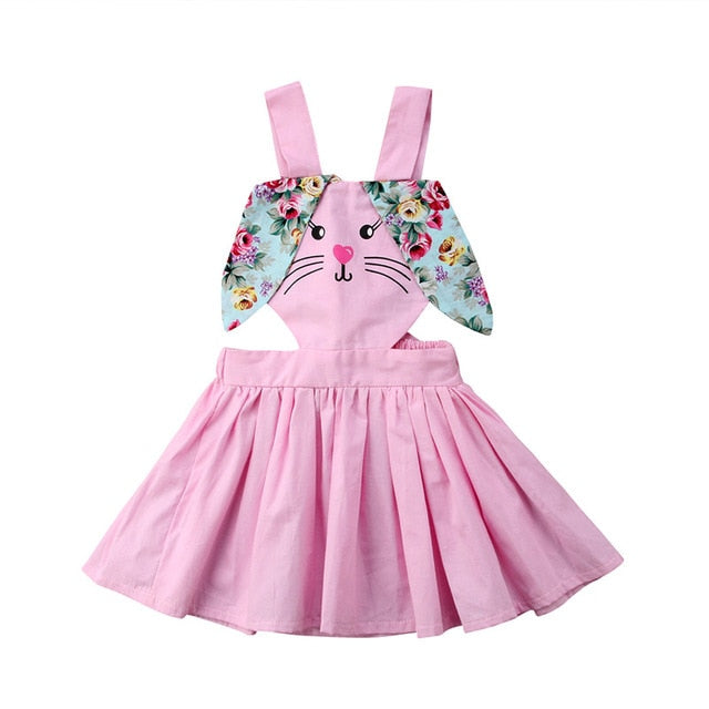 Baby Girls Dress Easter Cute Bunny Floral Ears Overalls For Children