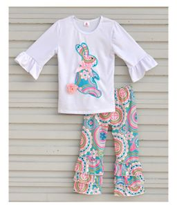 Spring Girls Set Easter Bunny Colorful Vintage Ruffle Pant  from a Clothing Boutique