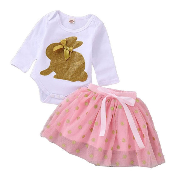 Easter Day Baby Girls Clothes Newborn Baby Romper+Tutu Skirt Outfits Cute Sequin Rabbit Infant Cltohing Set