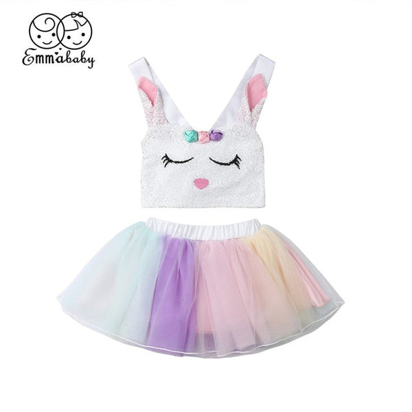 Baby Girl Easter Outfit Bunny Top+Tulle Tutu Mini Skirt 2Pcs