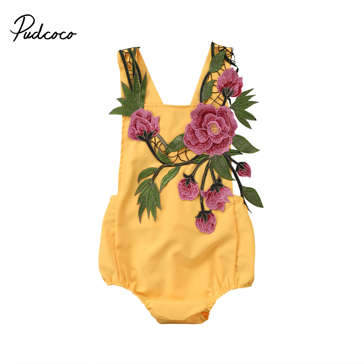 Flower Girls Baby Girl Floral Embroidery Peony Backless Jumpsuit Clothes 0-18M