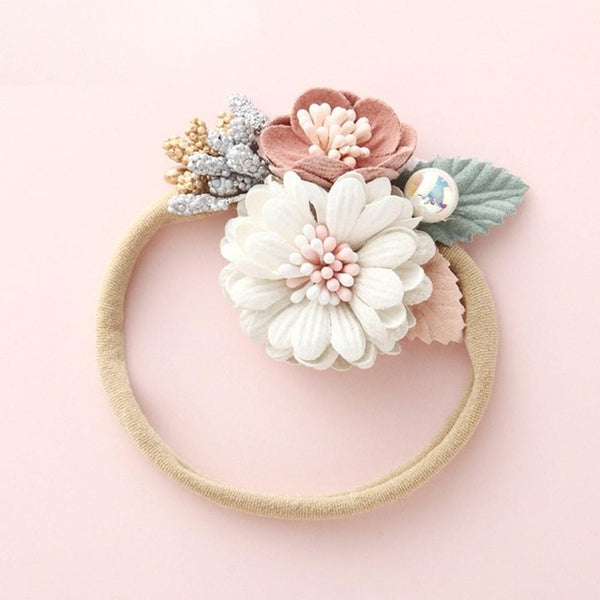 Newborn Baby Headband  with Soft Elastic Traceless Artificial Flower