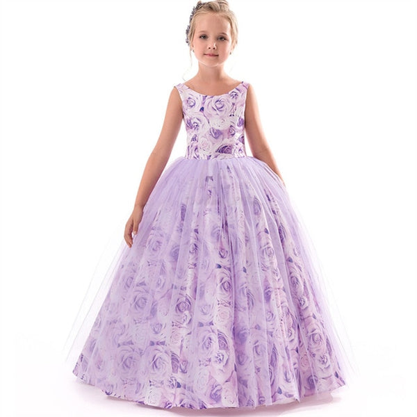 Girl Floral V-Backless  Princess Party Pageant Ball Gown Kids Dresses