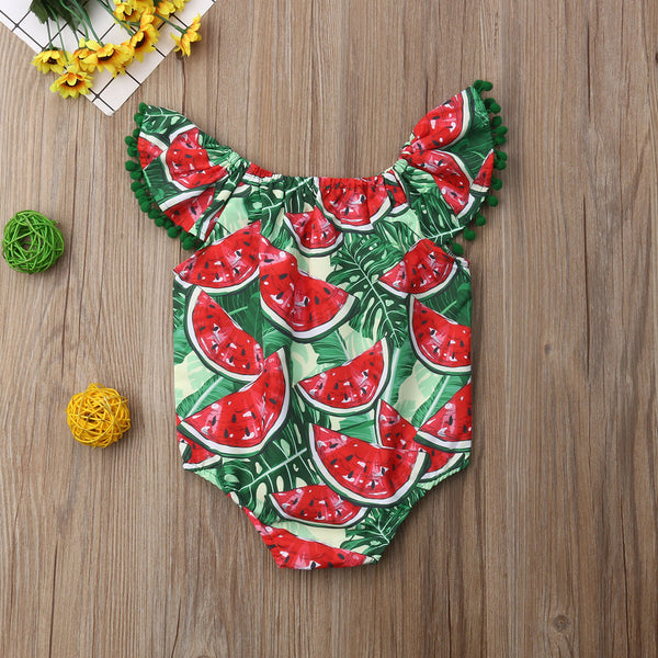Watermelon Print Ruffles Romper for Baby  Girls
