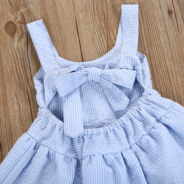 Summer Hellen Sleeveless ruffled  Halter Girls Dress. Pink and Blue