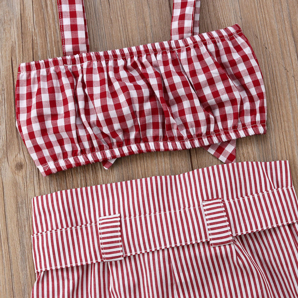Fashion 2pcs  Girl Clothing set Red Bow Crop Top Vest + Pants Cotton Casual Outfits Set Clothes Girls 2-7T