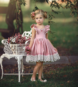 Girls Sweet Summer Ruffles Pink Princess Flowers Tutu Dress