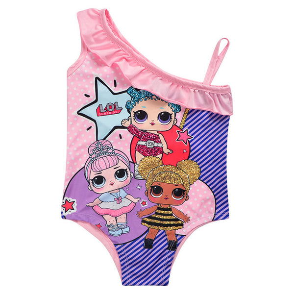 New 2019 Summer LOL Brand Shoulder Swimsuit For Girl Cartoon Toddler Girls Swimwear