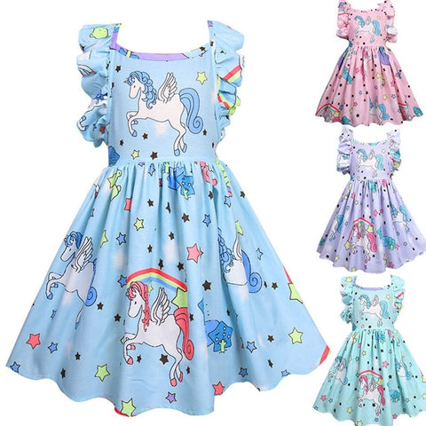 Summer Unicorn Dress Cross-border Petal Princess Dress