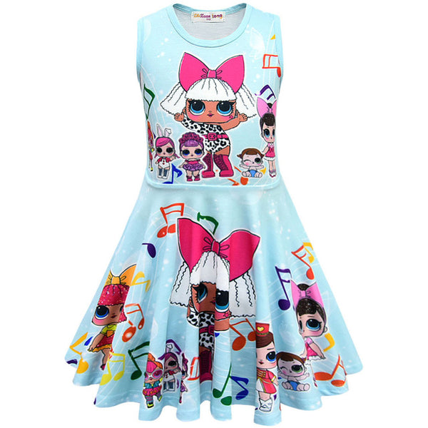 Children Cartoon Pattern Summer Dress for Girls Many Styles