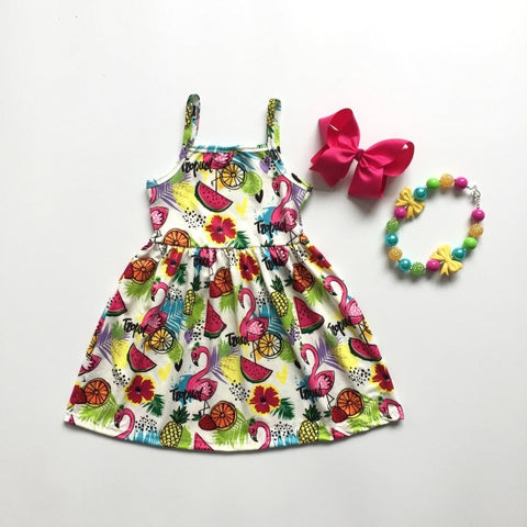 Summer Girls Pineapple Dress Tropical Vibes with Matching Accesorie