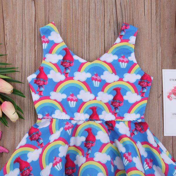Girl Dress Trolls  Summer Pleated Sundress