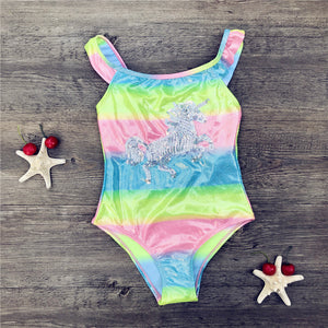 Unicorn Girl Swimwear Rainbow  Sparkly Sequins 4 colors avaliable