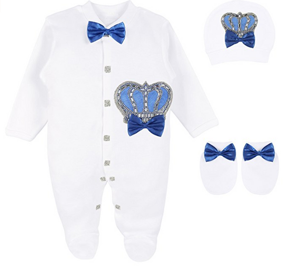 Baby Boy Jewels Crown Layette 4 Piece Set in Baby Blue and Royal Blue (2 Colors)
