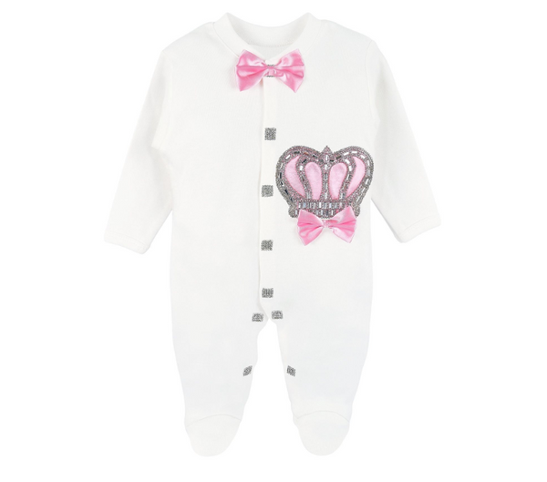 Royal Princess Crown Pink Take Home  Babygirl.  4 Piece set Outfit. 2 Styles