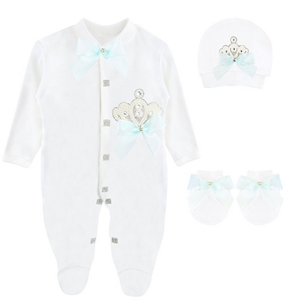 Baby Girl Pearl Crown Jewels Crown Layette 3 Piece Gift Set 0-3 Months