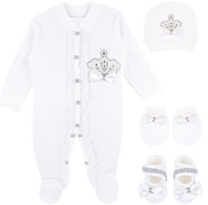 Baby Girl Jewels Crown Baptism  Take Home Hospital outfit Lace Detail Layette 4 Piece Set 0-3M White