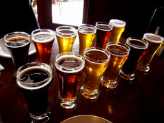 Selection of beer in numerous forms, light and dark