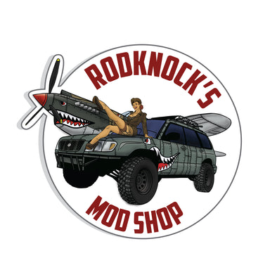 Rodknock's Mod Shop JDM Americana design digitally printed in full color to white vinyl slap stickers