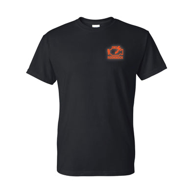 Check Rodknock Light t-shirt screen printed using orange water based discharge ink on a black H000 gildan hammer tee