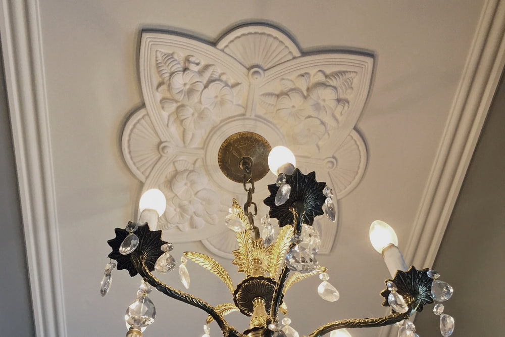 Decorative Plaster Ceiling Medallions with Center Hole Cut for Hanging Chandelier - Brockwell Incorporated - ColumnsDirect.com