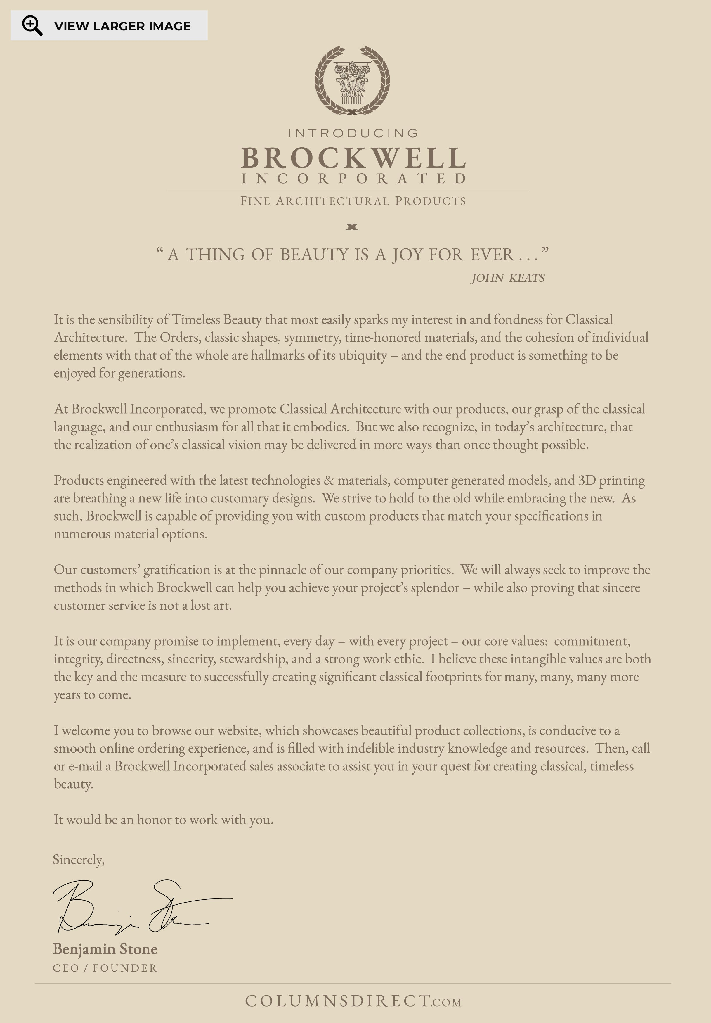 Founder's Company Message - Brockwell Incorporated, CEO / Founder, Benjamin Stone