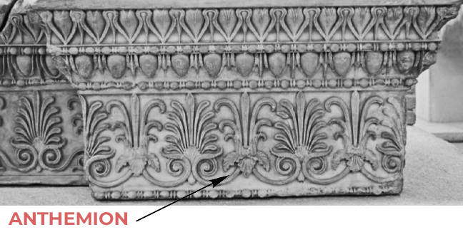 Anthemion showcased in the necking of a pilaster capital - Brockwell Incorporated