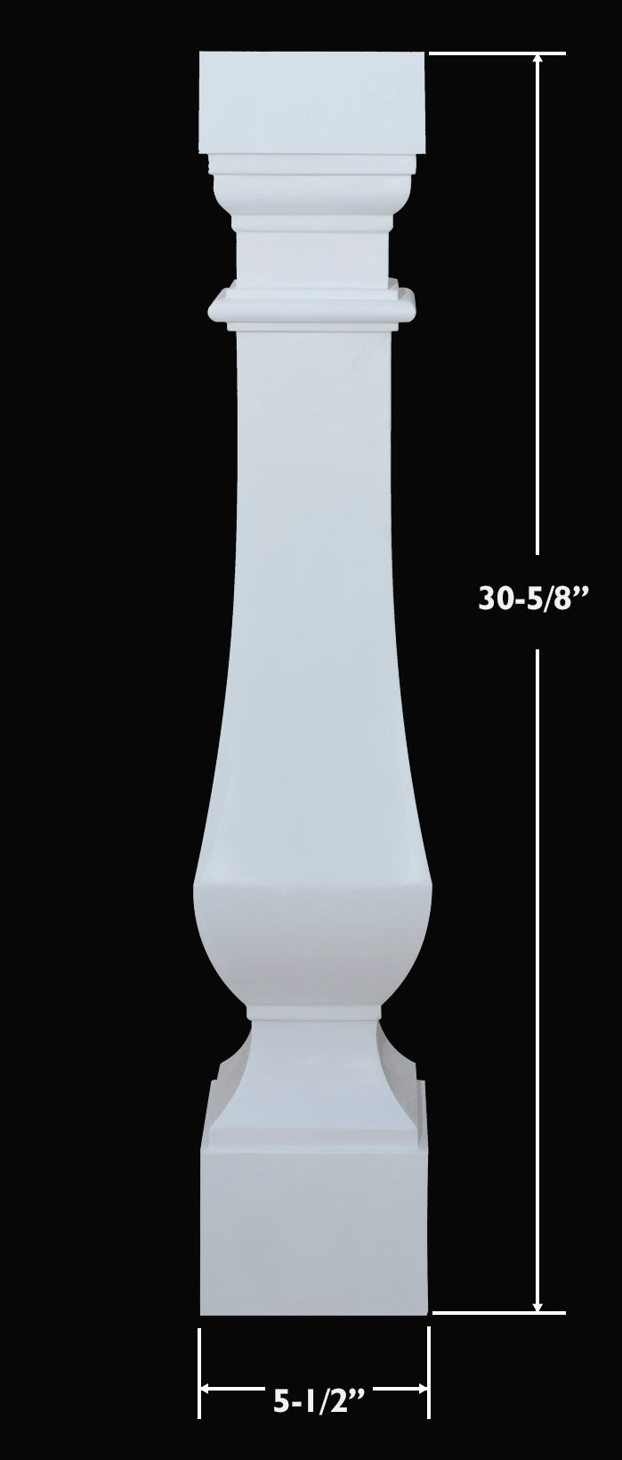 Dimensions for The Gainesville Classic Stone Pre-Finished Baluster Design from Brockwell Incorporated