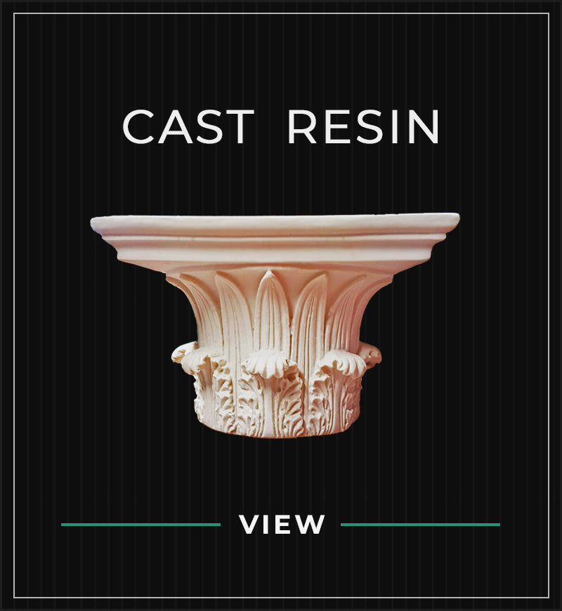 cast resin capitals collection with black pin stripe background