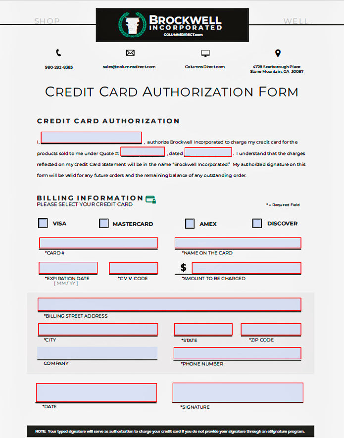 Download Brockwell Incorporated's Credit Card Authorization Form
