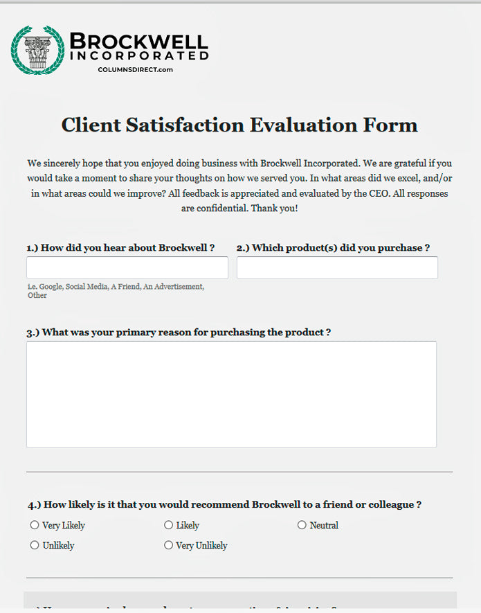 Download Brockwell Incorporated's Client Satisfaction Form