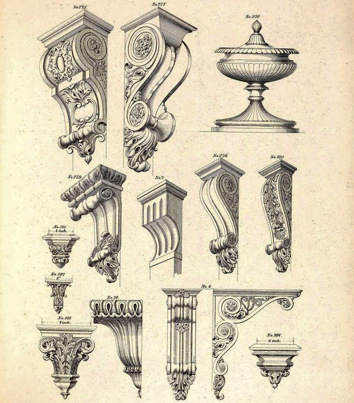 classical corbel sketches for brockwell incorporated's illustrated glossary of architectural terms