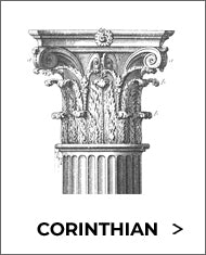 black and white sketch of the corinthian classical order of architecture capital from brockwell incorporated