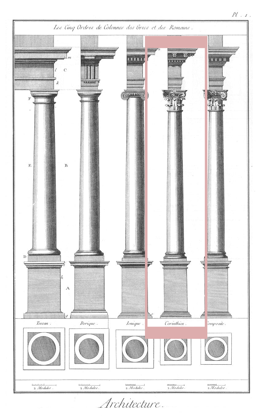 corinthian order sketch of classical orders of architecture for brockwell incorporated's illustrated glossary of architectural terms