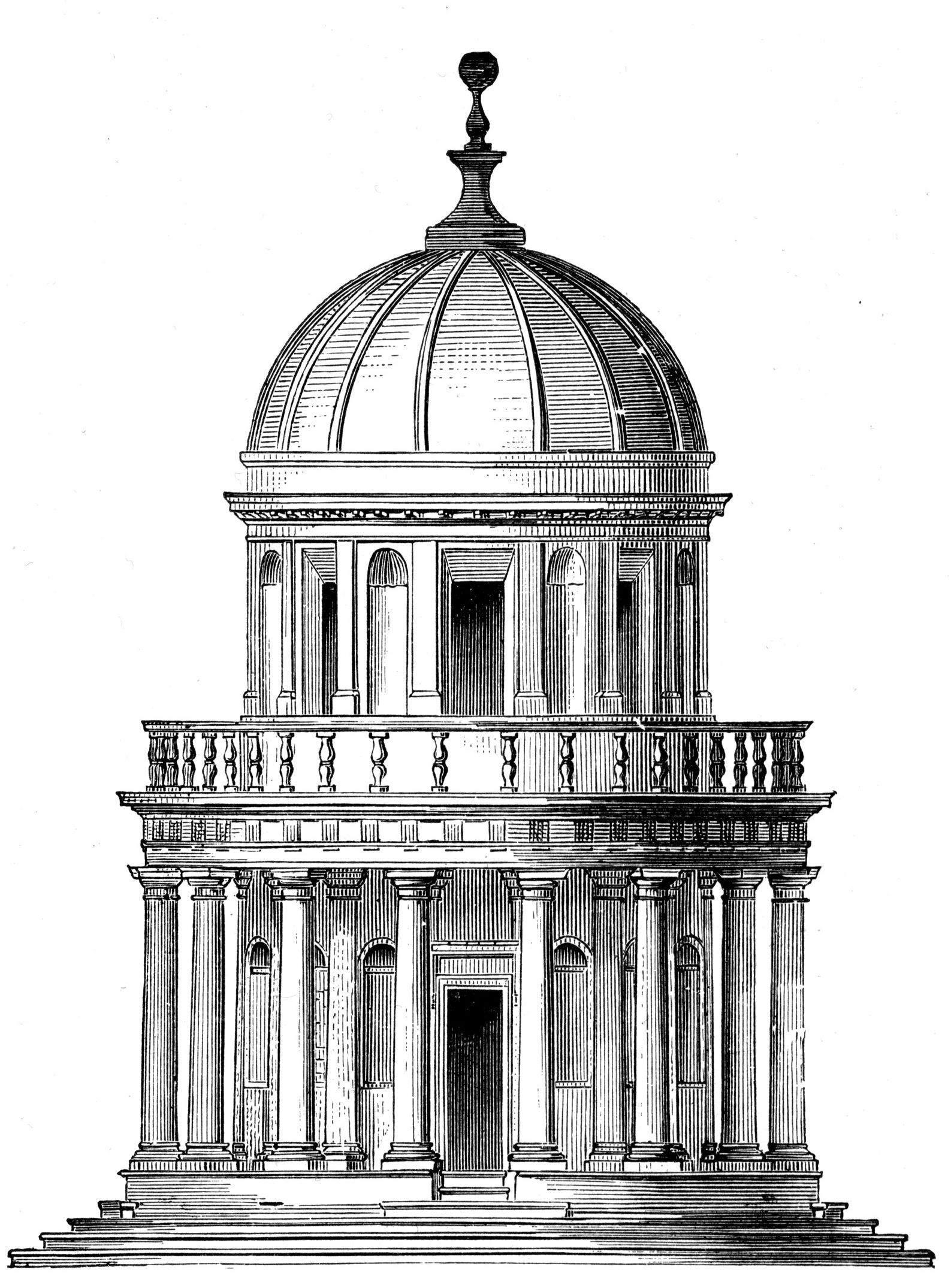 dome black and white classical sketch for brockwell incorporated's illustrated glossary of architectural terms
