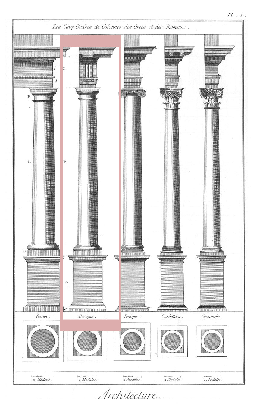 doric order sketch of classical orders of architecture for brockwell incorporated's illustrated glossary of architectural terms