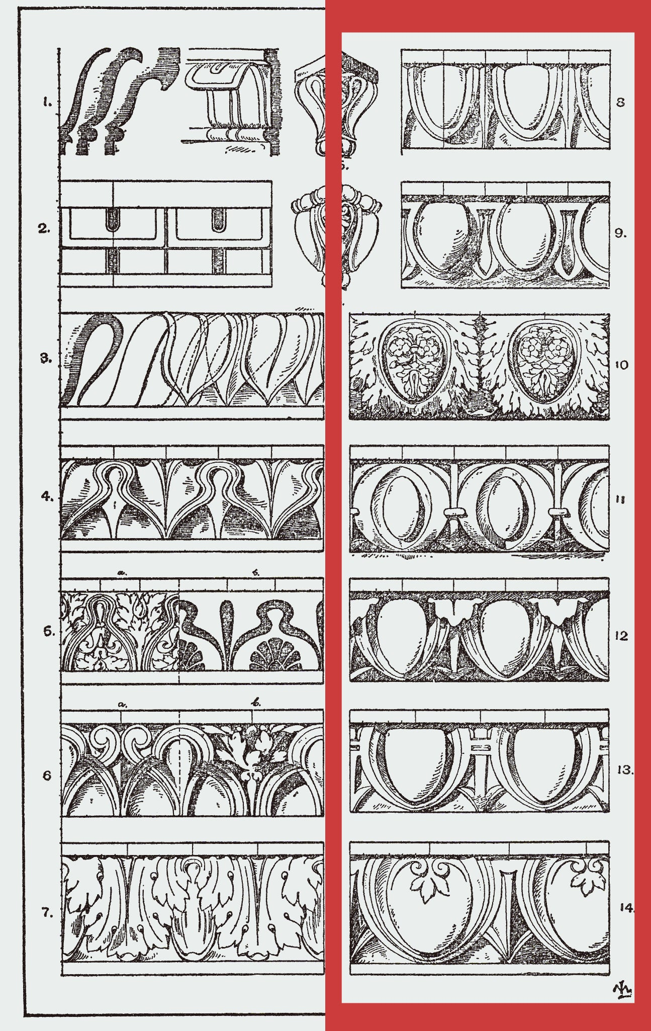 egg and dart molding sketches for brockwell incorporated's illustrated glossary of classical architectural terms