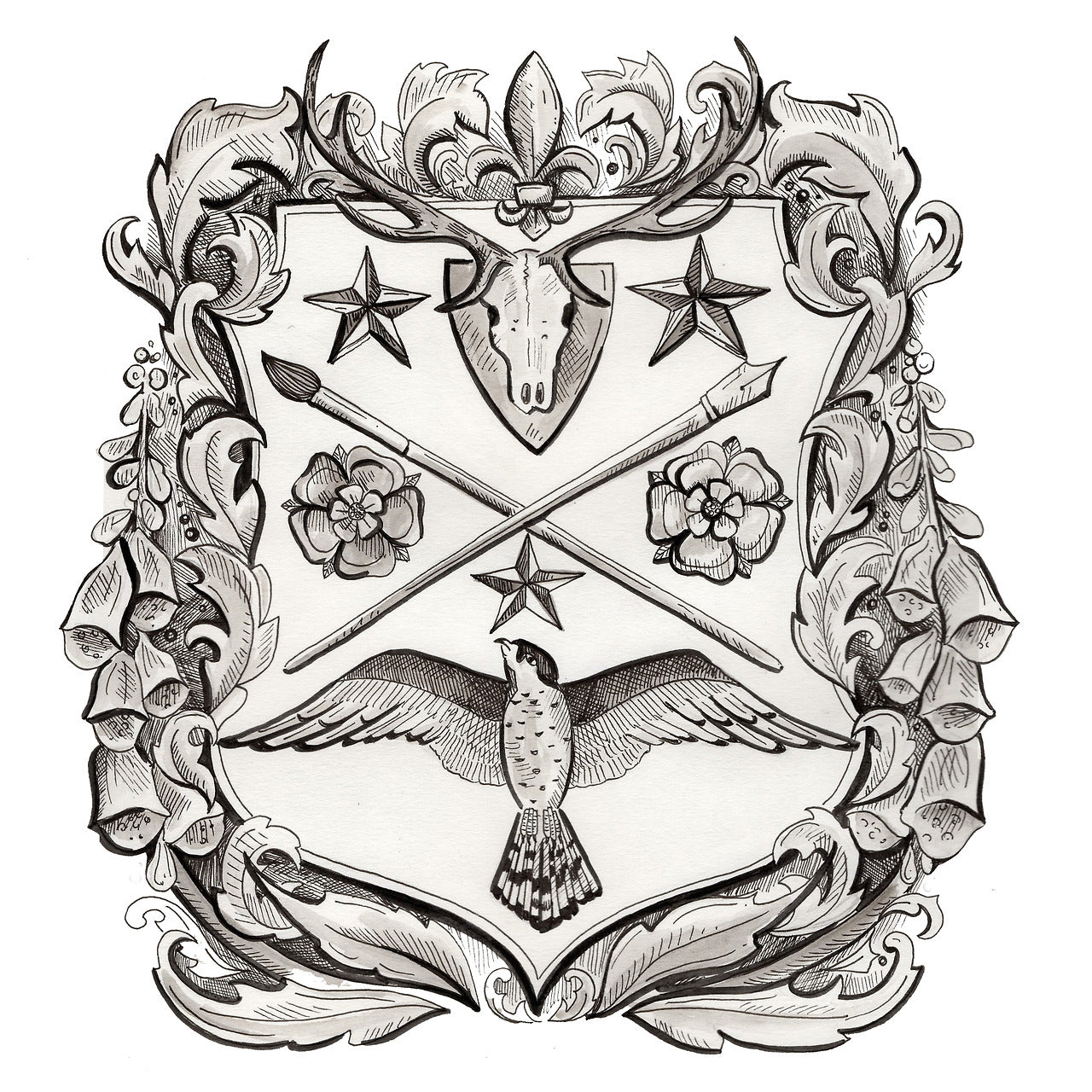 escutcheon shield with coat of arms sketch for brockwell incorporated's illustrated glossary of classical architectural terms