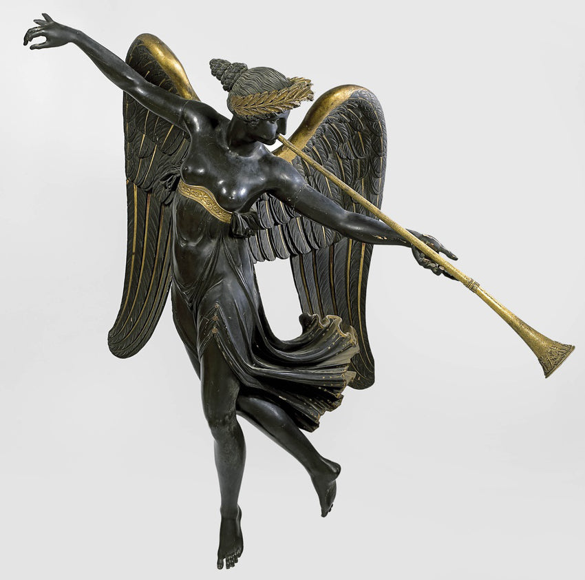fame, or winged female, blowing a trumpet for brockwell incorporated's illustrated glossary of classical architectural terms