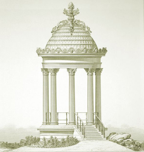 classical sketch of gazebo with columns for brockwell incorporated's illustrated glossary