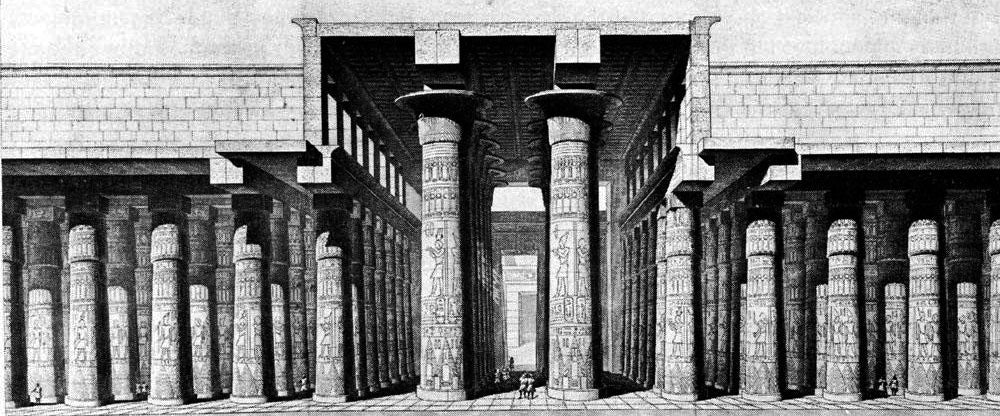 hypostyle classical sketch of the temple of arnak for brockwell incorporated's illustrated glossary of architectural terms